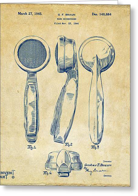 1944 Microphone Patent Vintage Greeting Card by Nikki Marie Smith