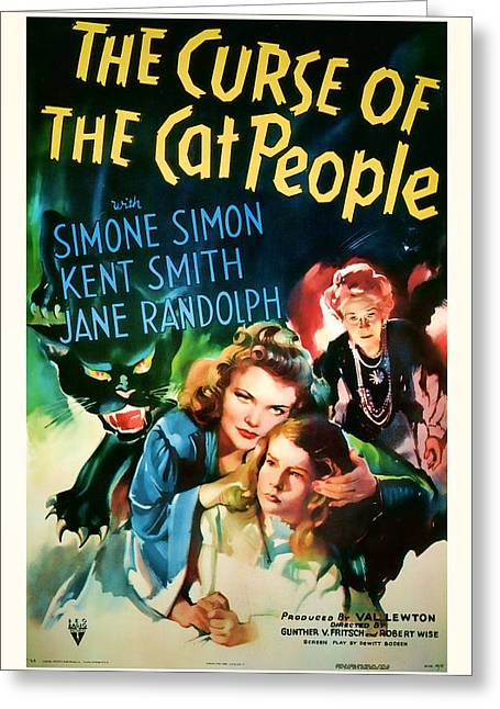 Suspense Mixed Media Greeting Cards - 1944 The Curse of the Cat People Vitage Movie Art Greeting Card by Presented By American Classic Art