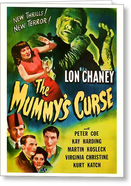 Suspense Mixed Media Greeting Cards - 1944 The Mummys Curse Vintage Movie Art Greeting Card by Presented By American Classic Art