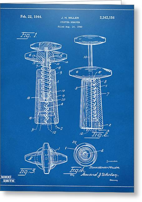 Wine Vineyard Greeting Cards - 1944 Wine Corkscrew Patent Artwork - Blueprint Greeting Card by Nikki Marie Smith