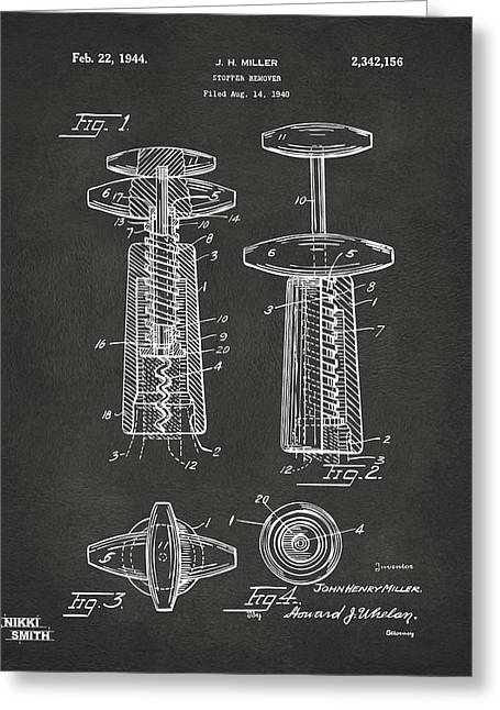 Wine Vineyard Greeting Cards - 1944 Wine Corkscrew Patent Artwork - Gray Greeting Card by Nikki Marie Smith