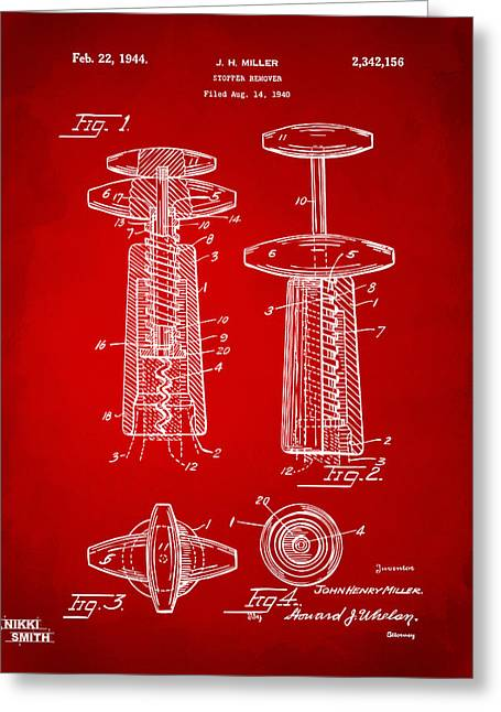 Wine Vineyard Greeting Cards - 1944 Wine Corkscrew Patent Artwork - Red Greeting Card by Nikki Marie Smith