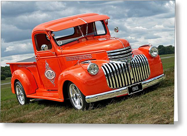 Restos Greeting Cards - 1945 Chevy in Orange Greeting Card by Gill Billington