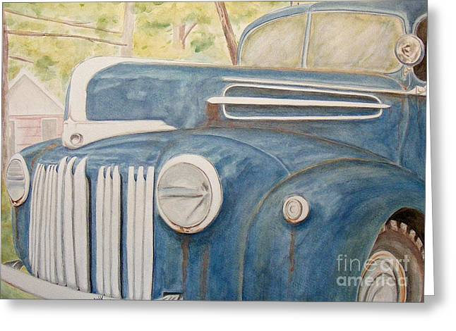 Classic Pickup Paintings Greeting Cards - 1945 Ford Pickup Greeting Card by D Joseph Aho