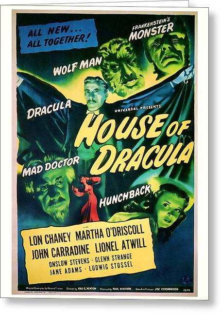 Suspense Mixed Media Greeting Cards - 1945 House of Dracula Vintage Movie Art Greeting Card by Presented By American Classic Art