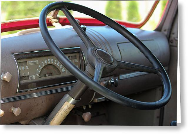 Steering Greeting Cards - 1946 Chevy Dash Greeting Card by E Faithe Lester