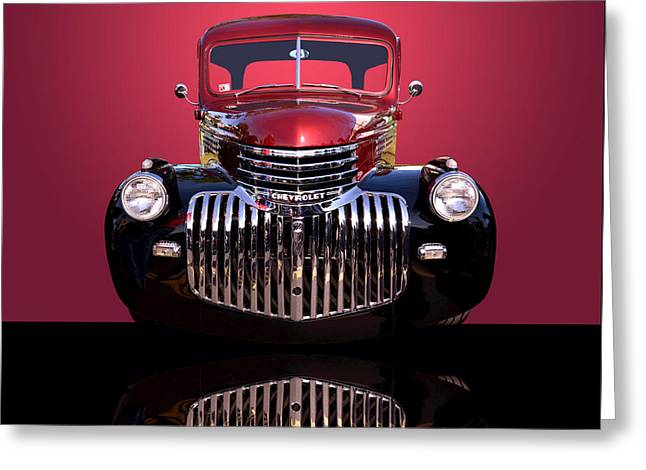 Chevy Pickup Truck Greeting Cards - 1946 Chevy Panel Truck Greeting Card by Jim Carrell