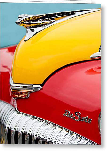 2011 Greeting Cards - 1946 DeSoto Skyview Taxi Cab Hood Ornament Greeting Card by Jill Reger