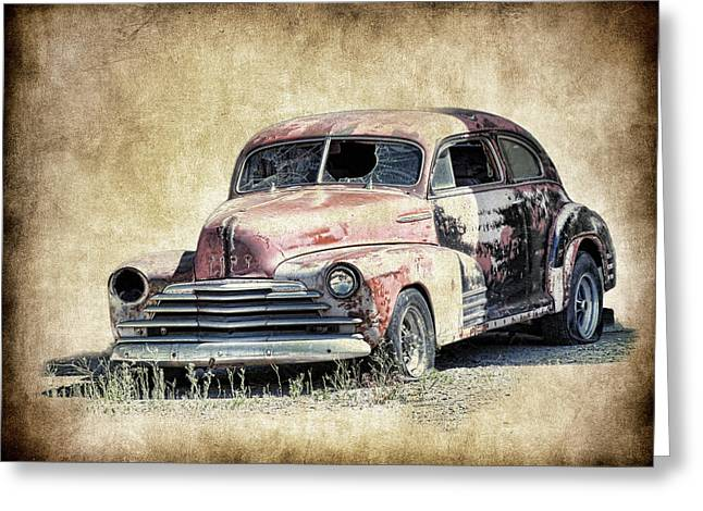 Graffitti Coupe Greeting Cards - 1947 Chevy Fleetmaster Coupe Project Greeting Card by Steve McKinzie