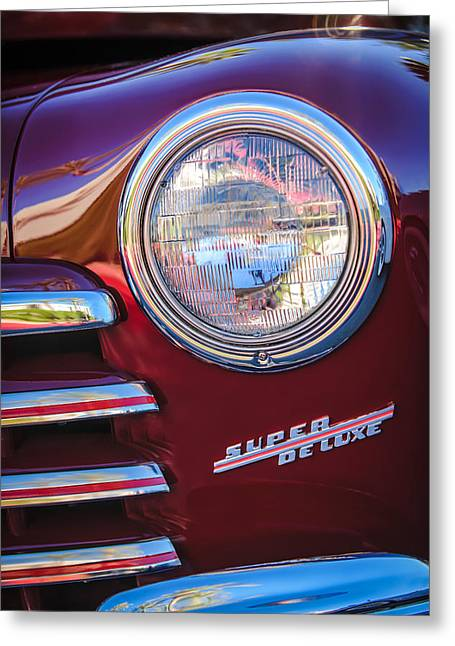 Headlight Greeting Cards - 1946 Ford Super Deluxe Sportsman Convertible Headlight Emblem Greeting Card by Jill Reger