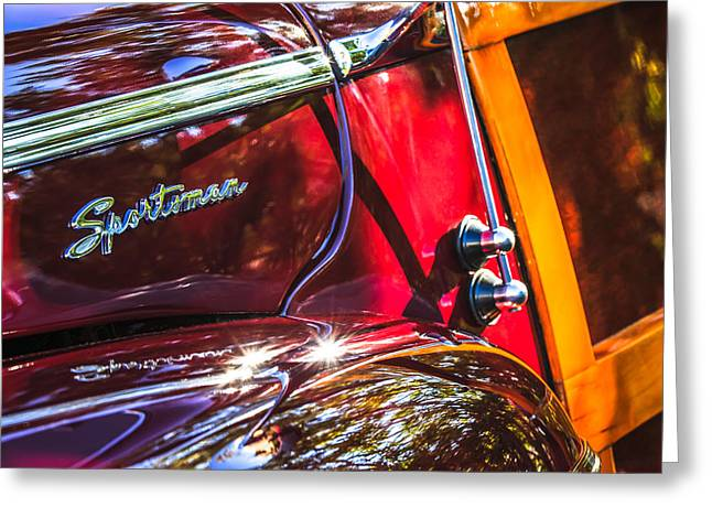 1946 Greeting Cards - 1946 Ford Super Deluxe Sportsman Convertible Side Emblem Greeting Card by Jill Reger