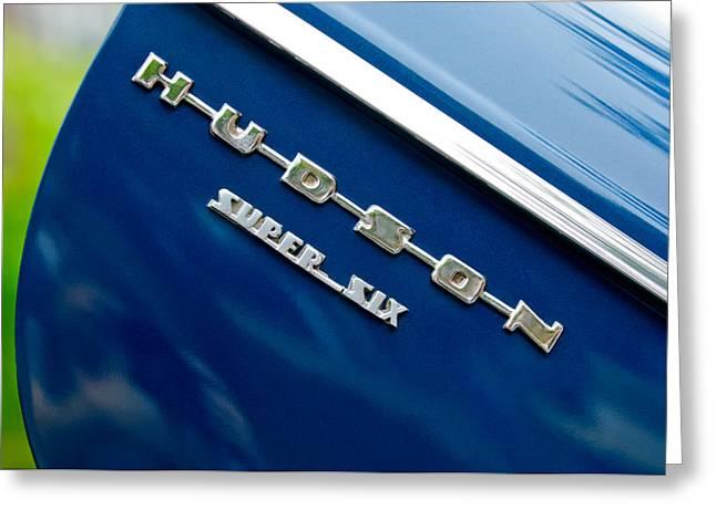 1946 Greeting Cards - 1946 Hudson Big Boy Super Six Pickup Truck Emblem Greeting Card by Jill Reger