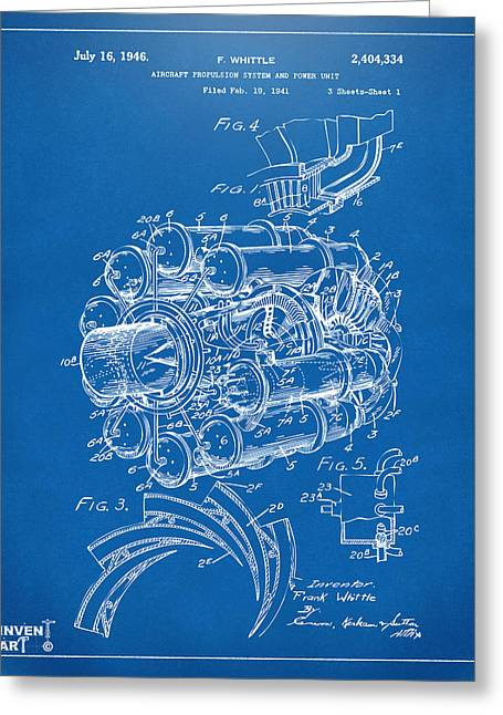 Jet Airplane Greeting Cards - 1946 Jet Aircraft Propulsion Patent Artwork - Blueprint Greeting Card by Nikki Marie Smith
