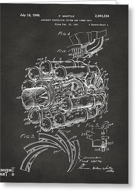 Jet Airplane Greeting Cards - 1946 Jet Aircraft Propulsion Patent Artwork - Gray Greeting Card by Nikki Marie Smith