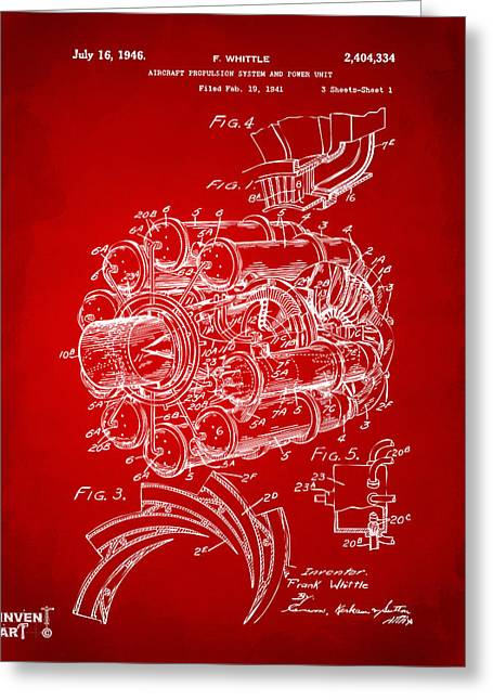 Jet Airplane Greeting Cards - 1946 Jet Aircraft Propulsion Patent Artwork - Red Greeting Card by Nikki Marie Smith
