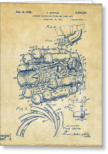 Jet Airplane Greeting Cards - 1946 Jet Aircraft Propulsion Patent Artwork - Vintage Greeting Card by Nikki Marie Smith