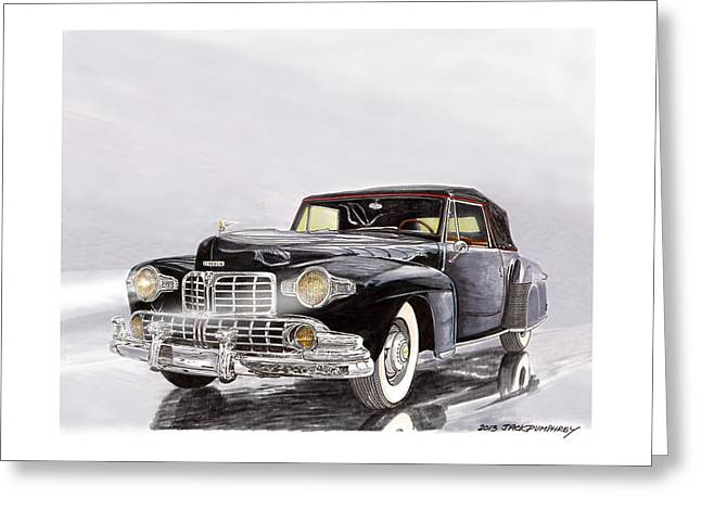Print On Canvas Greeting Cards - 1946 Lincoln Continental Convertible foggy reflection Greeting Card by Jack Pumphrey