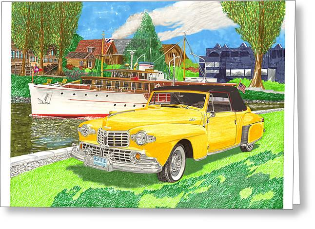 Yachting Mixed Media Greeting Cards - 1946 MK I Lincoln Continental Greeting Card by Jack Pumphrey