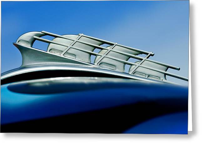 Vintage Hood Ornament Greeting Cards - 1946 Plymouth Hood Ornament Greeting Card by Jill Reger