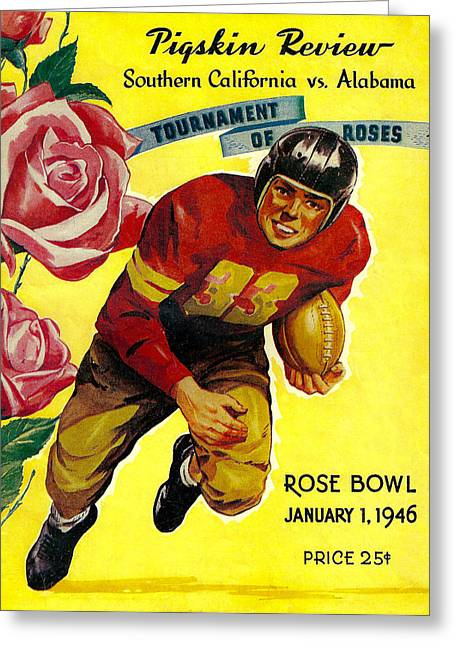 University Of Alabama Greeting Cards - 1946 Rose Bowl Program Greeting Card by David Patterson