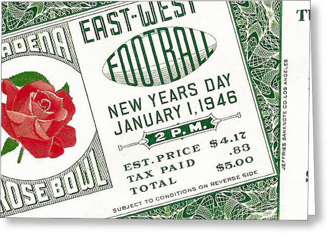 Crimson Tide Photographs Greeting Cards - 1946 Rose Bowl Ticket - USC vs Alabama Greeting Card by David Patterson
