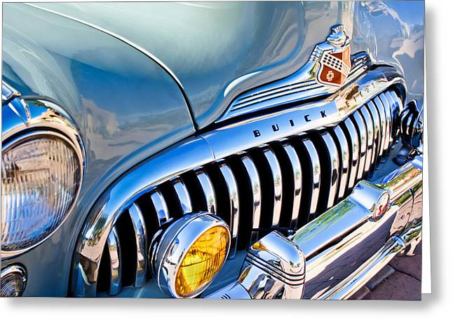 Eight Greeting Cards - 1947 Buick Eight Super Grille Emblem Greeting Card by Jill Reger