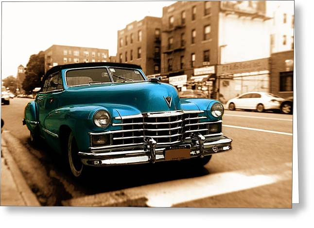 Blue Classic Car Greeting Cards - 1947 Cadillac Convertible Greeting Card by Jon Woodhams