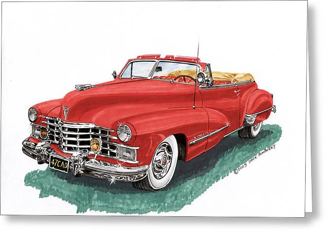 You Of A Greeting Cards - Red 1947 Cadillac Series 62 Convertible Greeting Card by Jack Pumphrey