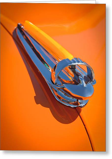 1947 Greeting Cards - 1947 Chevrolet Deluxe Hood Ornament Greeting Card by Jill Reger
