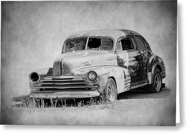 Fleetmaster Greeting Cards - 1947 Chevrolet in Black and White Greeting Card by Steve McKinzie