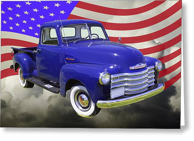 Chevrolet Pickup Truck Digital Greeting Cards - 1947 Chevrolet Thriftmaster Pickup And American Flag Greeting Card by Keith Webber Jr
