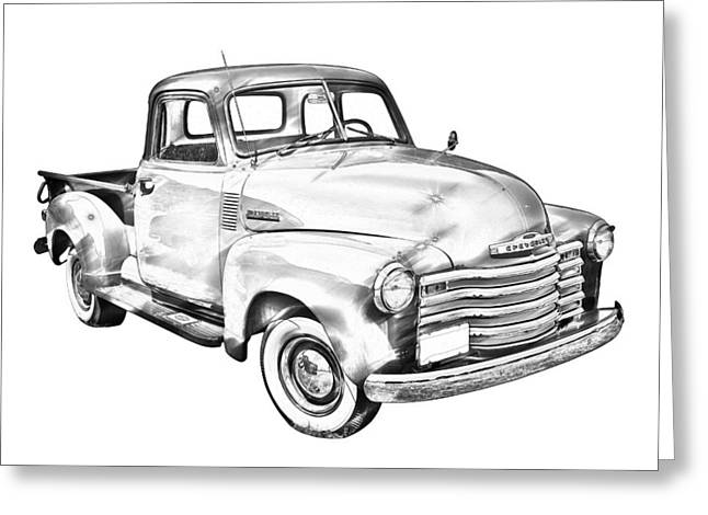 Chevrolet Pickup Truck Greeting Cards - 1947 Chevrolet Thriftmaster Pickup Illustration Greeting Card by Keith Webber Jr