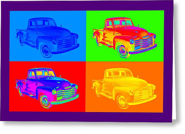 Timer Greeting Cards - 1947 Chevrolet Thriftmaster Pickup Pop Art Greeting Card by Keith Webber Jr