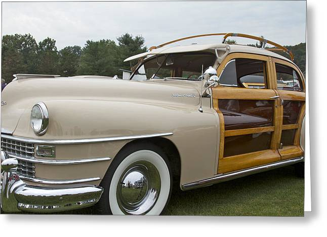 Event Pyrography Greeting Cards - 1947 Chrysler Greeting Card by Jack R Perry