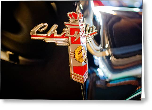 1947 Greeting Cards - 1947 Chrysler New Yorker Town and Country Convertible Emblem Greeting Card by Jill Reger