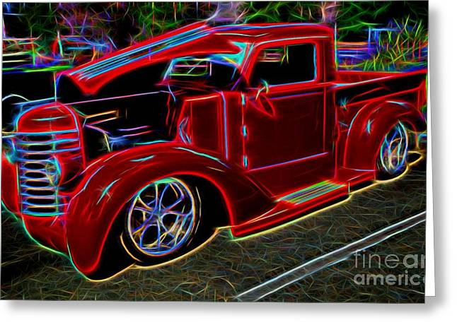 Decadence Greeting Cards - 1947 Diamond-T Pickup Vintage Truck Greeting Card by Gary Whitton