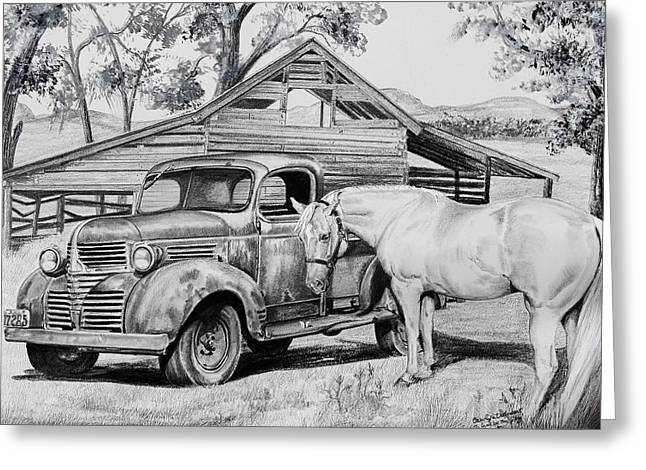 Drawings Of Barns Greeting Cards - 1947 Dodge Pick Up and Codi Greeting Card by Carolyn Valcourt