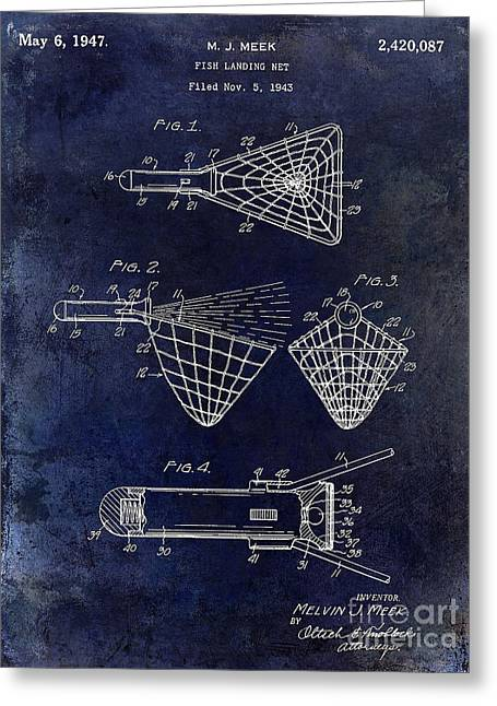 Florida Seafood Greeting Cards - 1947 fishing Net Patent Drawing Blue Greeting Card by Jon Neidert