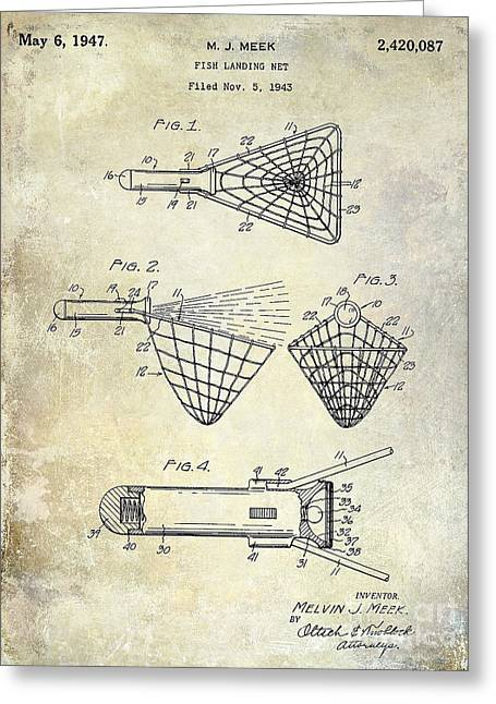 Fishing House Greeting Cards - 1947 Fishing Net Patent Drawing Greeting Card by Jon Neidert