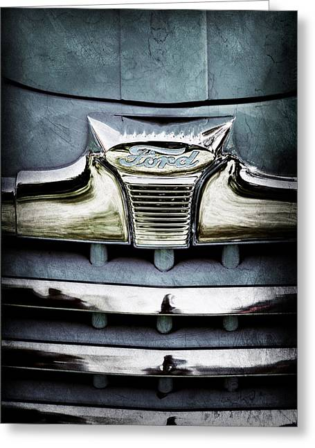 1947 Greeting Cards - 1947 Ford Deluxe Grille Emblem Greeting Card by Jill Reger