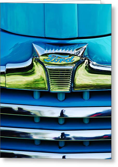 Vintage Hood Ornaments Greeting Cards - 1947 Ford Deluxe Grille Ornament -0700c Greeting Card by Jill Reger