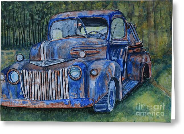 Classic Pickup Paintings Greeting Cards - 1947 Ford Pickup Greeting Card by DJ Laughlin