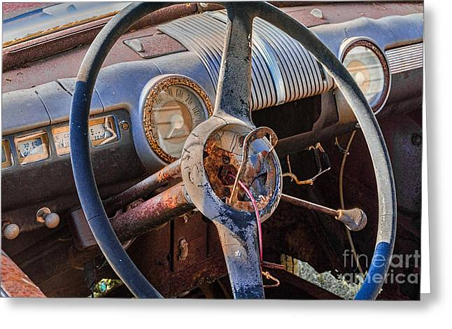 Fuel Gauge Greeting Cards - 1947 Ford Super Deluxe 8 Steering Wheel and Dashboard Greeting Card by Jerry Fornarotto