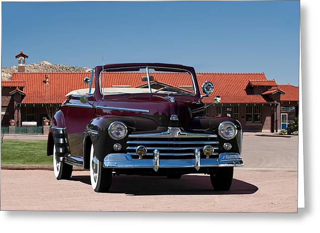 Family Car Greeting Cards - 1947 Ford Super Deluxe Convertible Greeting Card by Dave Koontz