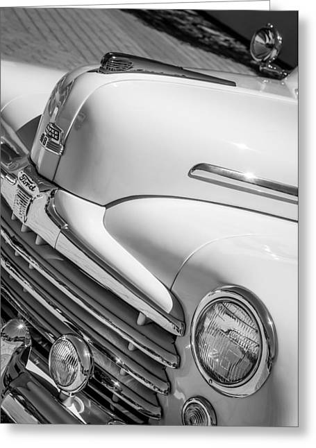 1947 Greeting Cards - 1947 Ford Super Deluxe Sportsman Grille Hood Ornament - Emblem Greeting Card by Jill Reger