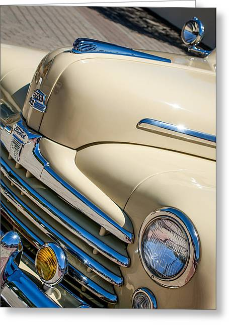 1947 Greeting Cards - 1947 Ford Super Deluxe Sportsman Grille - Hood Ornament Greeting Card by Jill Reger