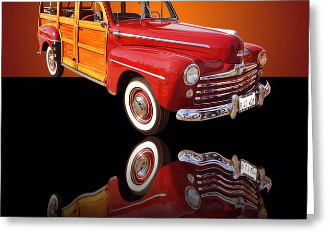 Surf City Greeting Cards - 1947 Ford Woody Greeting Card by Jim Carrell