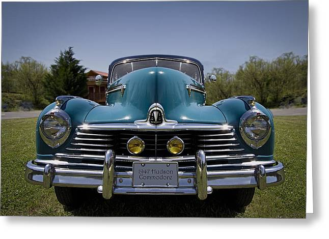 Car 47 Greeting Cards - 1947 Hudson Commodore Greeting Card by Debra and Dave Vanderlaan