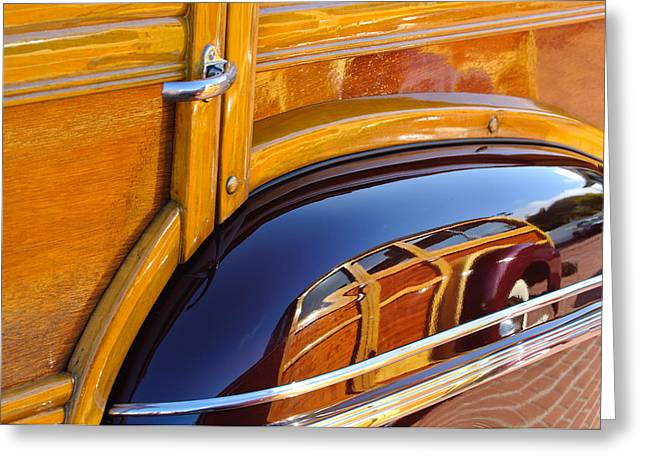 1947 Greeting Cards - 1947 Mercury Woody Reflecting into 1947 Ford Woody Greeting Card by Jill Reger