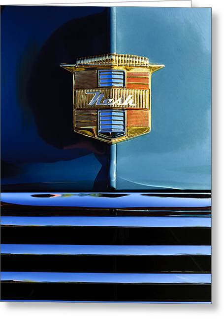 1947 Greeting Cards - 1947 Nash Surburban Hood Ornament Greeting Card by Jill Reger